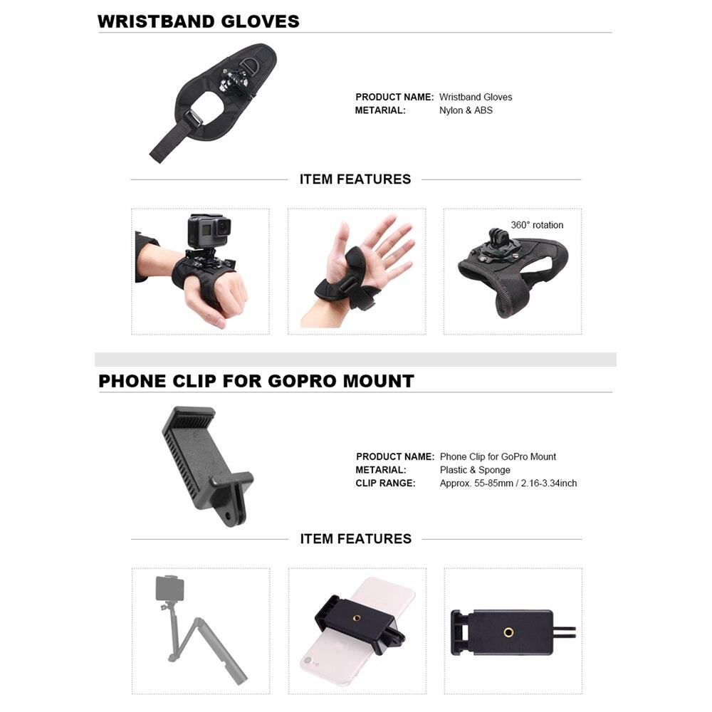 Para GoPro accesorios Set para Go Pro Hero 7 6 5 4 3 kit Selfie Stick monopié adaptador de montaje para yi 4K Sjcam Sj4000 Eken H9r - 3
