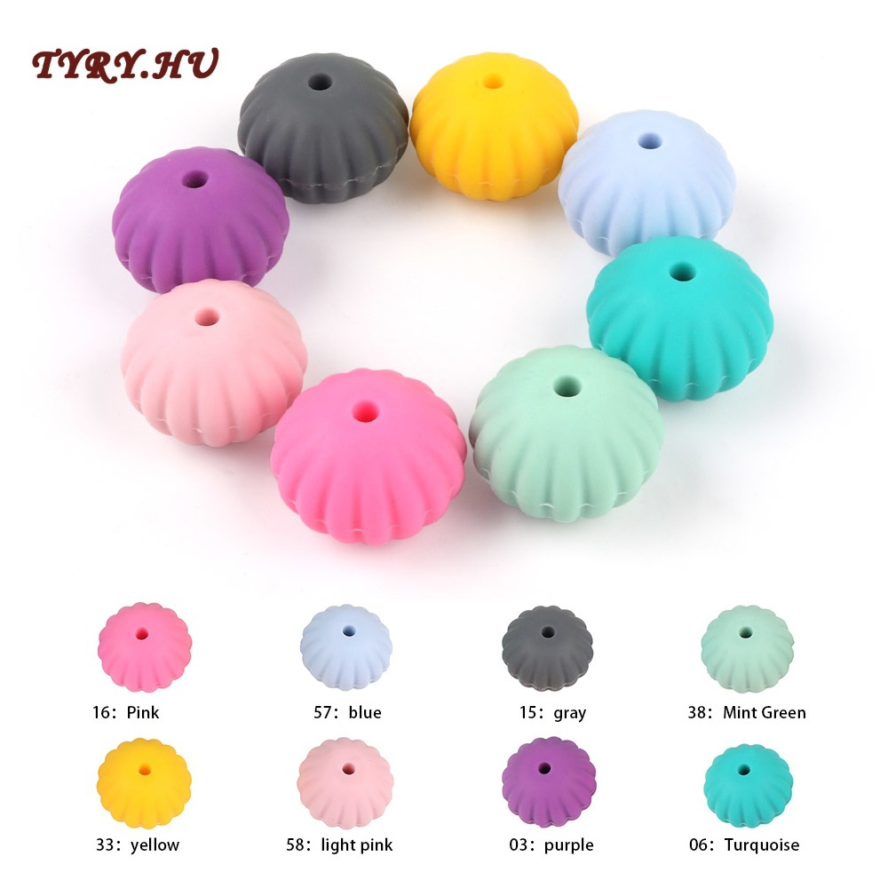 TYRY.HU 10pcs/lot Pumpkin Silicone Beads Food Grade Silicone Teether DIY Nursing Necklace Accessories Perle Beads Baby Teethers