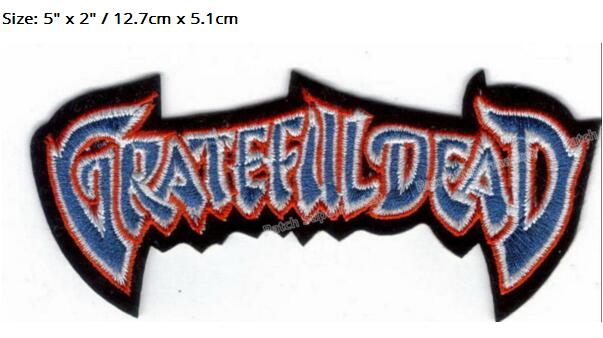 5 GRATEFUL DEAD LOGO Music Band EMBROIDERED Iron On Patch rockabilly LOGO TRANSFER MOTIF APPLIQUE Rock