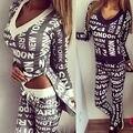 2016 Mulher Treino Hoodies Roupas Definir Carta Impressão Mulheres Sportwear Terno 2 Peça Definir Trajes Camisola + Calças Sudaderas