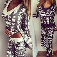 2019 Woman Tracksuit Clothing Hoodies Set Letter Print Sportwear Suit Women 2 Piece Set Costumes Sweatshirt+Pants Sudaderas