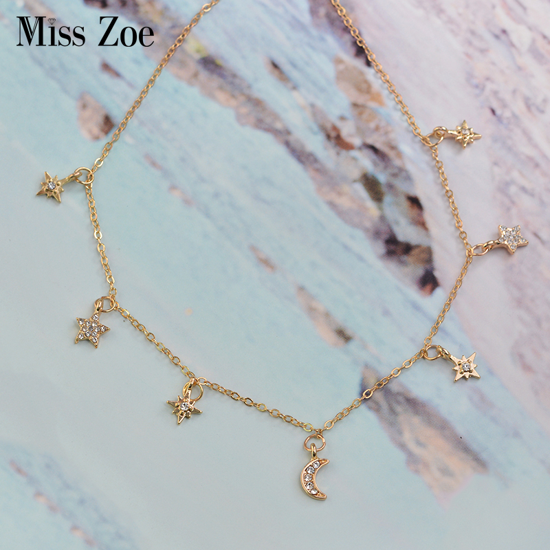 Crystal Moon and Star choker necklace rose gold Rhinestone Pendant Necklace Gold Simple mix fashion jewelry Gift for Women