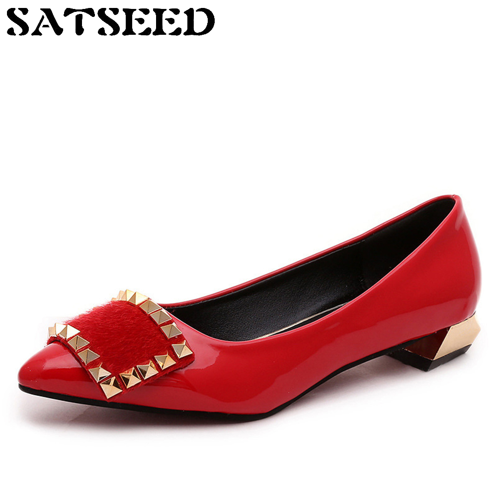 Spring Summer Pumps Pointed Mouth Shallow Low Red Work Shoes Leisure Boat Joker Women Shoes Hot Style Square Heel Fashion New 2016 spring and summer free shipping red new fashion design shoes african women print rt 3