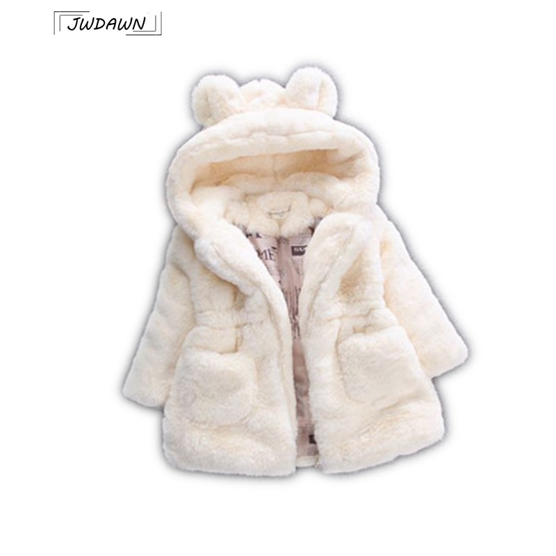 New Winter Girls Clothes Outerwear Faux Fur Warm Plush Hooded Jacket Cute Rabbit Ears Kids Clothes Thick Hooded Kids Clothes