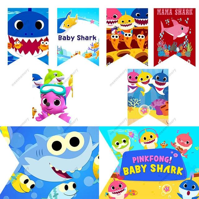 Baby shark doo doo banner baby shower birthday party decorations baby shark doo doo banner baby shower birthday party decorations kids party party flags candy bar stopboris Choice Image
