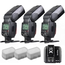 3 x Godox TT600 construir-en 2.4G Transmisor Receptor GN60 HSS Flash + X1T para Canon