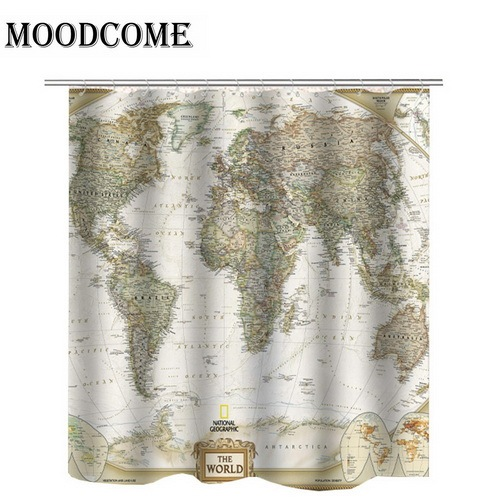 target world map shower curtain Vintage Bathroom Curtains Fabric Waterproof Bath Curtains Map