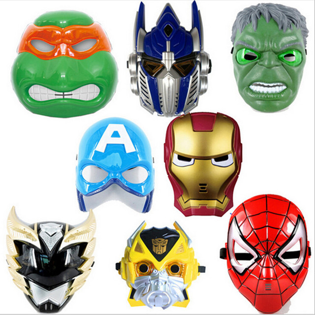 Superhero Masks Full Face Kids Game Cosplay Party Mask LED Eye Light Mask For  Halloween Party Spider Man Mask Party Supplies