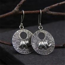 JINSE  100% Handmade Women Bohemian Ethnic 925 Sterling Thai Silver Round Elephant Drop Earrings Vintage Dangle Earrings 6.3G цены онлайн