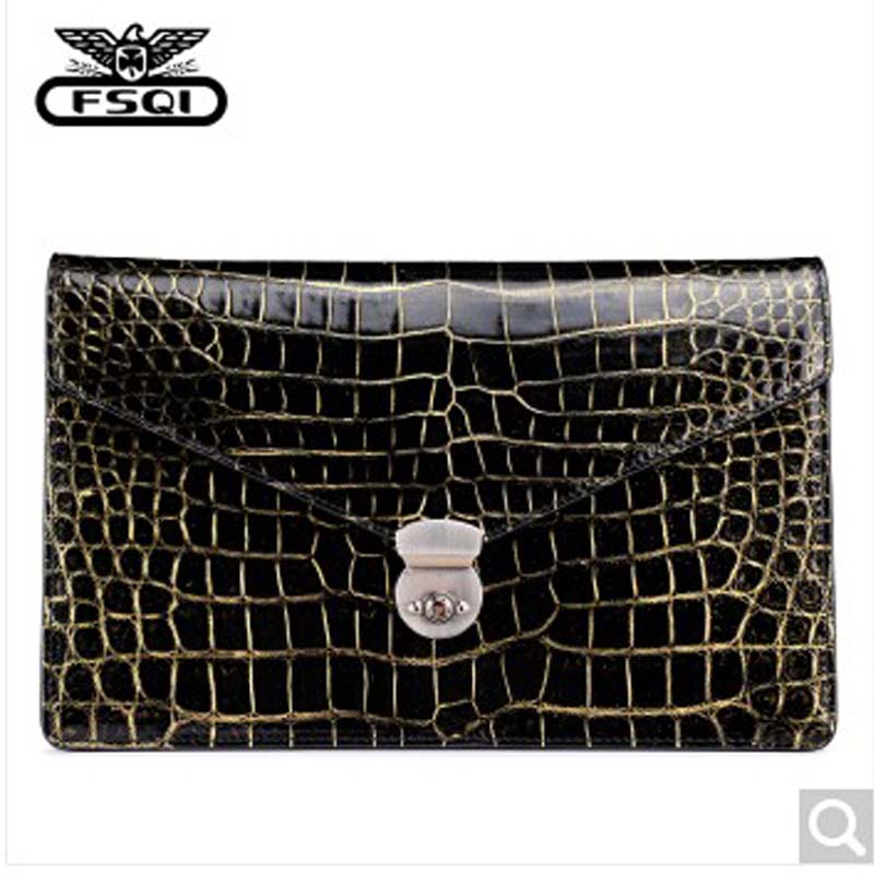 fasiqi Local golden crocodile leather men bag man clutch  fashion bag business men handbag bulk briefcase European envelope
