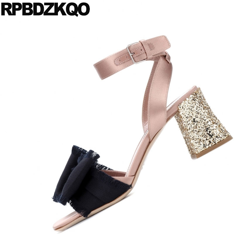 Shoes Designer Sandals Women Luxury 2018 Chunky Slingback Bow Pumps Rose  Gold High Heels Glitter Bowtie Ankle Strap Sequin-in High Heels from Shoes  on ... 46b5366c9d66