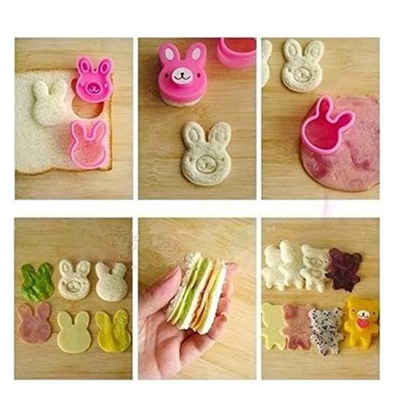 3 pçs bonito cortador de sanduíche cortadores mini formas cortador de biscoito conjunto para crianças plástico bento cortador ferramenta moldes pão biscoito em relevo dispositivo