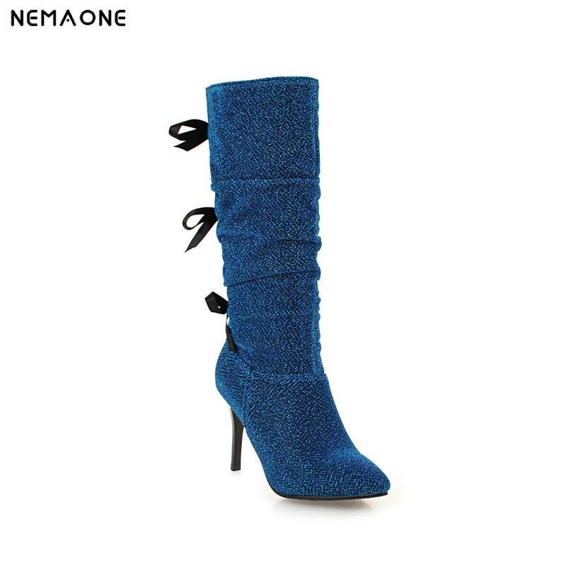Nemaone 2019 Neue High Heels Frauen Stiefel Sexy Kniehohe Stiefel Frau Schwarz Lila Blau Party Schuhe Frau Große Größe 42 43 Quell Sommer Durst Schuhe