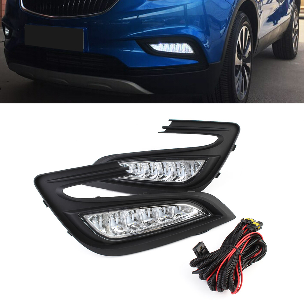Bright Car LED Light DRL Auto Daytime Running Light Driving Lamp Set White For Buick Encore 2017 D35 auto car led white drl driving daytime running light fog lamp daylights for hyundai ix35 2014 2017 2pcs free shipping d35