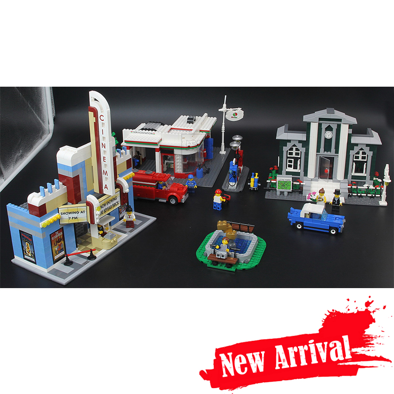 ANNIVERSARY SET Town Plan Lepin CINEMA SERVICE STATION LAMPPOST VEHICLE 02022 City DIY Building Blocks Bricks Toys 10184 2080pcs waz compatible legoe city lepin 2017 02022 1080pcs city 50th anniversary town figure building blocks bricks toys for children