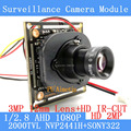 2.0MP 1920*1080 AHD 1080P Surveillance Camera Module,1/2.8 NVP2441+SONY IMX322 PCB Board+3MP 12mm Lens ODS Menu Lines/BNC Cable
