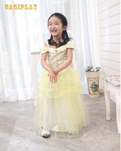 kids Carnival Clothing Girls Beauty And The Beast Bella Princess Cosplay Dress Children Halloween Party Role Play Costume princess bell dress purple mesh beauty and the beast a line cosplay dress kids carnival costume halloween party show vestido