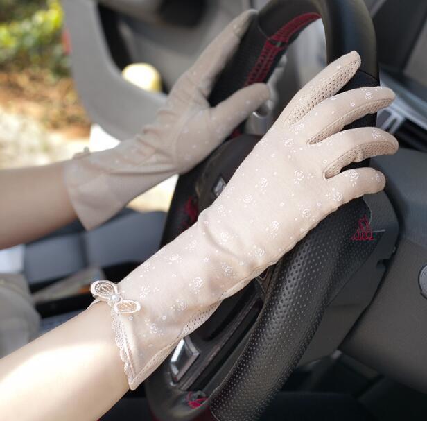 Women's Spring Summer Thin Sunscreen Print Cotton Driving Gloves Female Summer Medium Long Breathable Riding Gloves R838