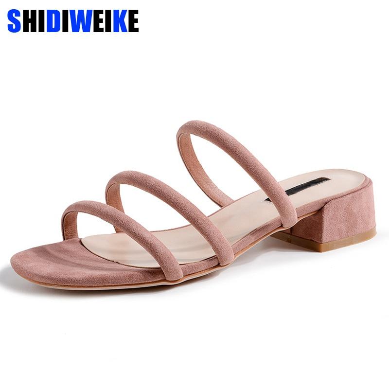 Plus Size 40 2019 New Sexy Slippers Women Med Square heel Sandals Platform Summer Shoes Woman Flip Flops Black Pink m915