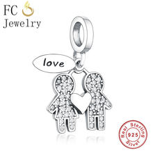 FC Jewelry Fit Original Pandora Charm Bracelet 925 Silver Boy Girl Son Daughter Friend Stone Pendant Bead Making Marry Berloque(China)