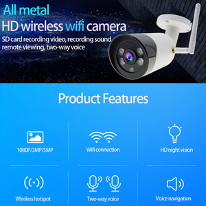 Image 2 - Caméra extérieure sans fil 1080 P HD Wifi caméra en métal CCTV Camara téléphone portable balle SD TF carte slot caméra de sécurité ICsee XMeye