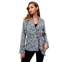 Leopard Printed Blazer Women Spring Autumn Winter Blazers and Jackets Ladies Long Sleeve V neck Blazer Femme Mujer with Sashes