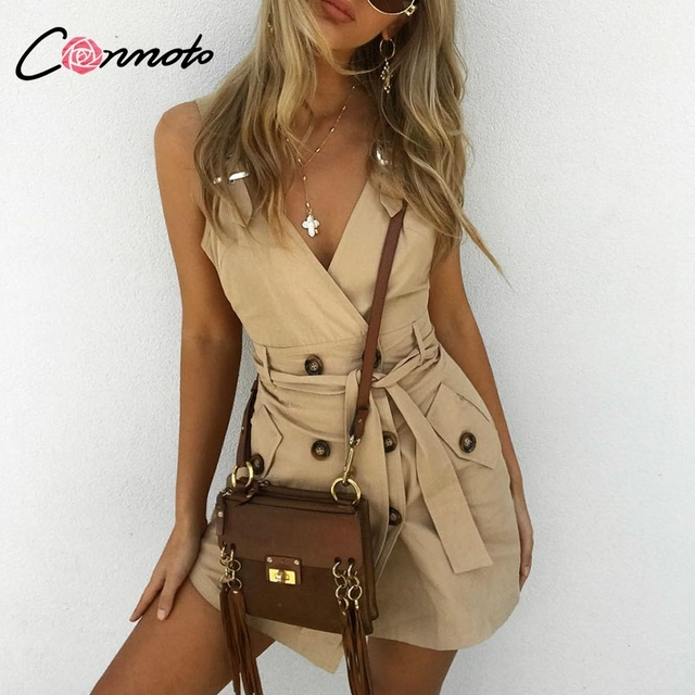 Conmoto Khaki Solid Vintage Blazer Sexy Dress Women Casual Belt Tie White Autumn Winter Dresses High Fashion Party Dress Vestido