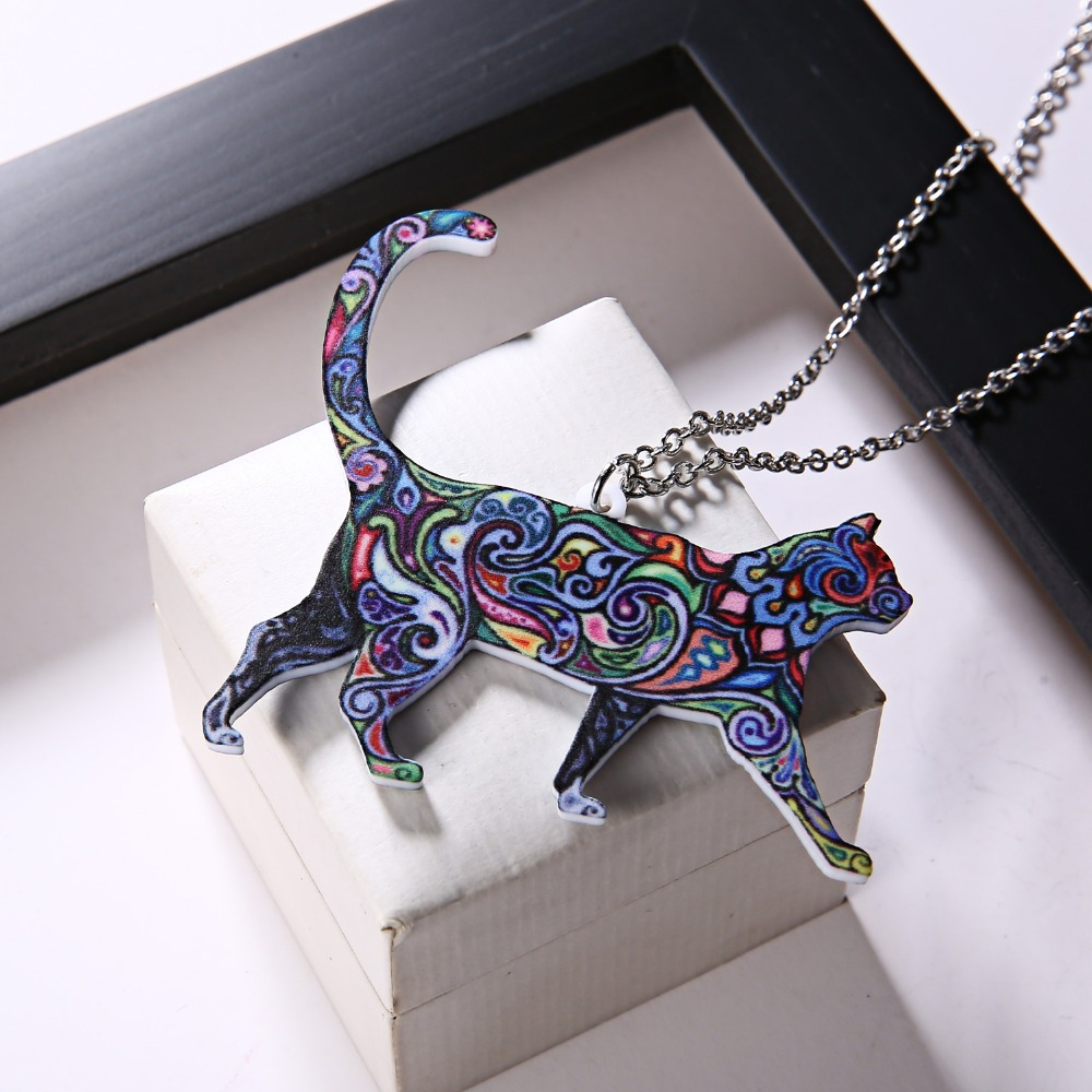 Handmade Colorful Double Side Acrylic Printing Flower Jewelry Animal Cat Pendant Necklace For Women Sweater Chain Family Gift 4