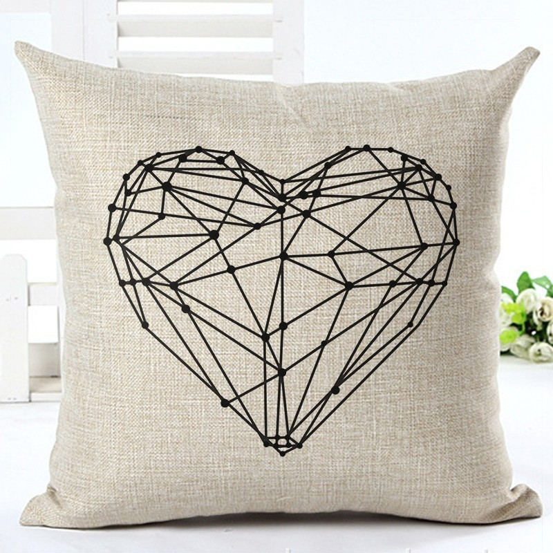 Fashion Style Black And White lines Chair Cushion Decor Cojines Sofa Throw Pillow Printed Cotton Linen Square Fundas 5