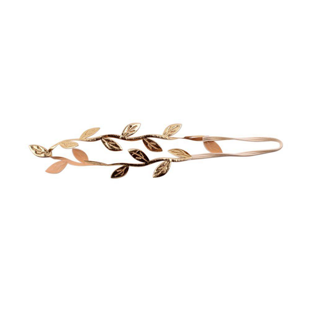 WOTT-Baby Gold Tone Leaf Headband Peace Olive Branch Baby Girl Hairband- For Baby
