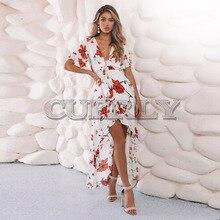 CUERLY Women Long Maxi Dresses Bohemia V-neck Short Sleeve Floral Print Summer Beach Female Stylish Style Dress Vestidos stylish scoop neck short sleeve spliced stripes women s maxi dress