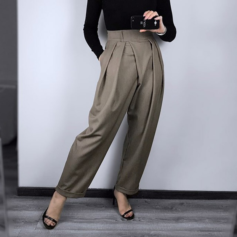 FATIKA 2019 Spring New Hot Women Pants Solid Loose Casual Pants Stylish Ladies Pockets Long Trousers Women's Clothing