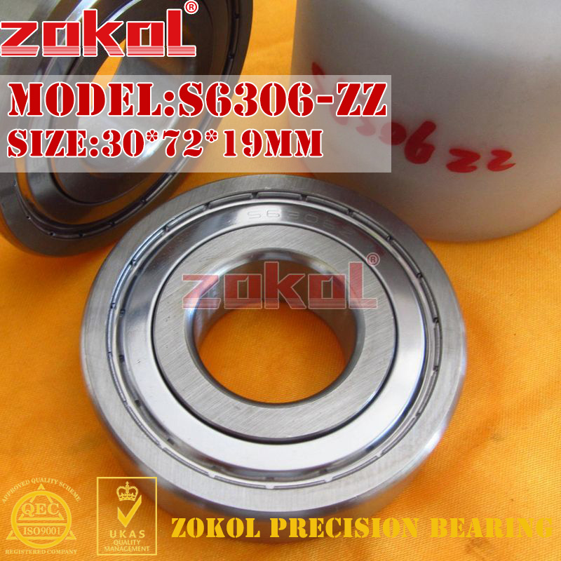 ZOKOL bearing 6306 ZZ S6306ZZ Z Stainess steel S6306-ZZ Deep Groove ball bearing 30*72*19mm gcr15 6326 zz or 6326 2rs 130x280x58mm high precision deep groove ball bearings abec 1 p0