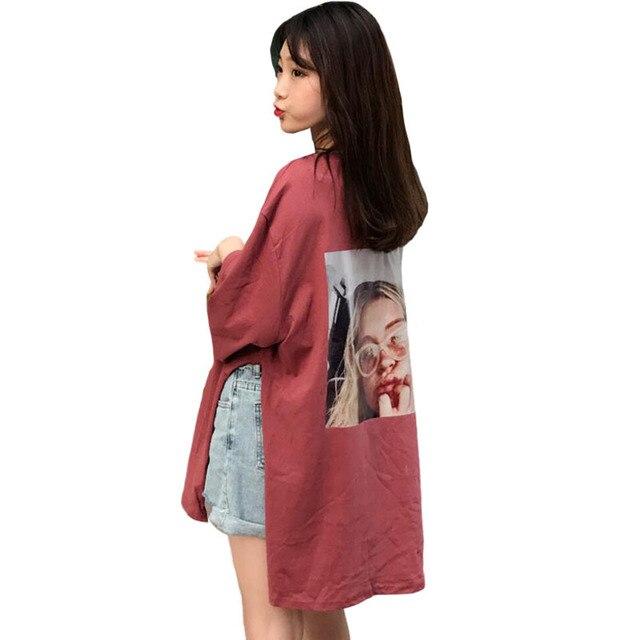be133dd5f6f Harajuku Korean Ulzzang Fashion 2018 Spring Print T Shirt Half Sleeve O  Neck Long T-