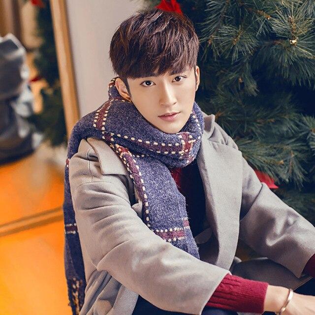 Осень и зима новый стиль чекер утолщение любителей шарф Человек согреться шарф и платок двойного назначения