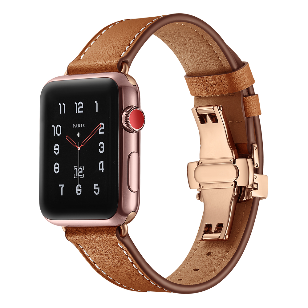 Leather strap for Apple watch 4 44mm 40mm Stainless steel Butterfly buckle Wrist Watchband Iwatch Series 4 3 2 1 42mm 38mm leather for apple watch band 38mm 42mm butterfly buckle strap iwatch series 4 3 2 1 watchband replacement accessories wrist belt