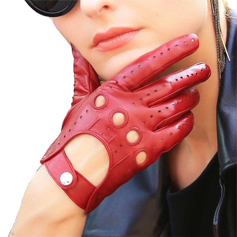 Guantes de cuero genuino de las mujeres de moda elegante dama de piel de oveja guante transpirable hebilla de la muñeca de conducción guantes de cuero sin forro EL041N