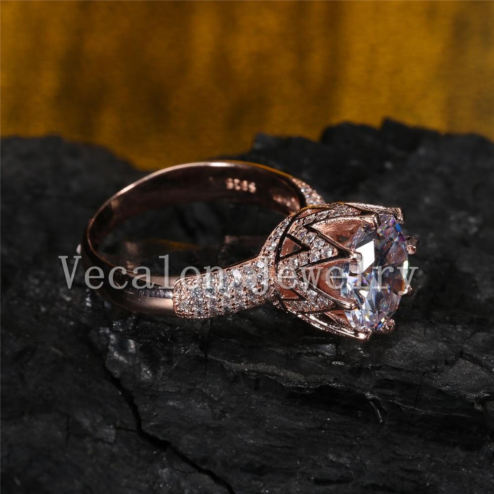Vecalon Rose Gold Ehering für Frauen Rundschnitt 6 ct AAAAA Zirkon - Modeschmuck - Foto 5