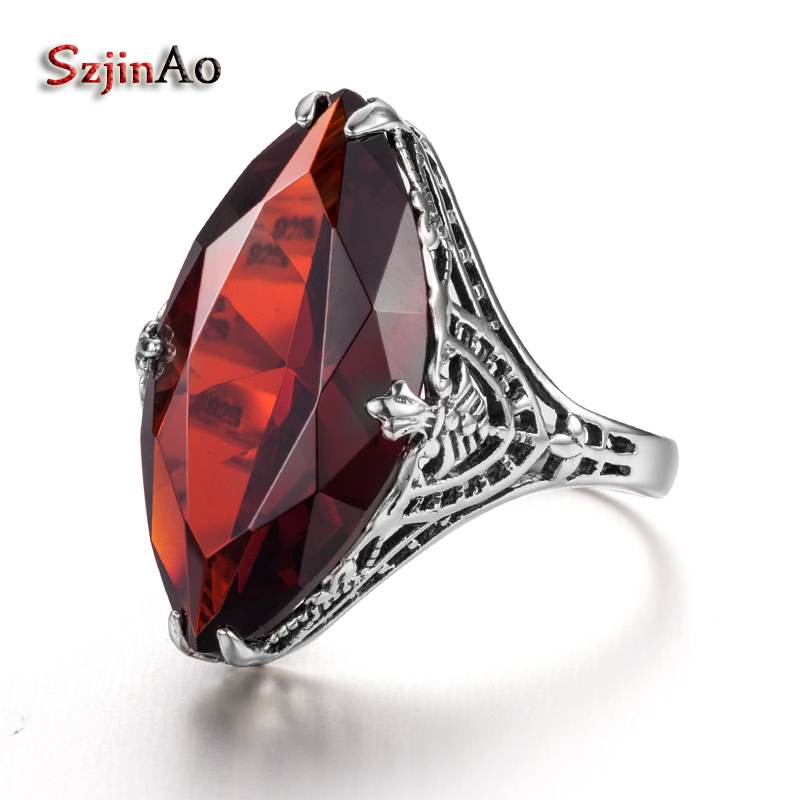 цена на Szjinao Fashion Big Oval Anchor Wedding Rings for Women Victoria Vintage Style Garnet 925 Sterling Silver Jewelry JS081