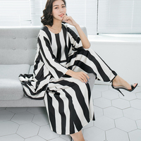 Changpleat 2018 Black White Stripes Women S Suits Fashion Loose O Neck Large Size Blouse And