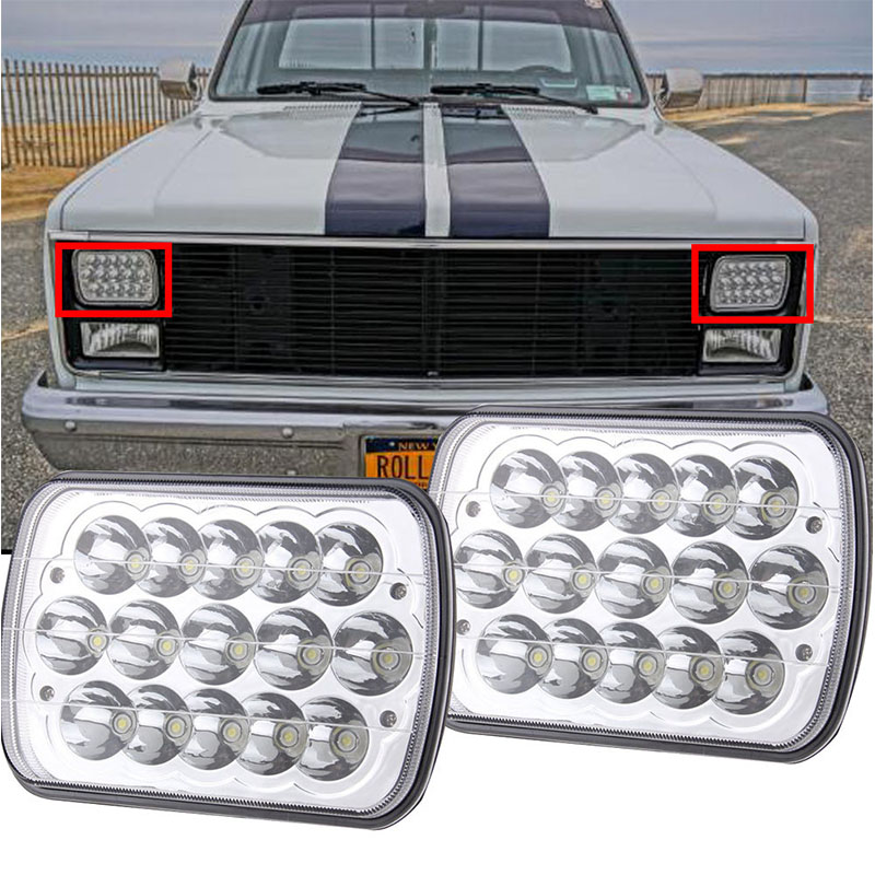 2PCS 6x7 inch Rectangular LED Headlights for Jeep Wrangler YJ Cherokee XJ Toyota PickupTrucks 4X4 Offroad Headlamp