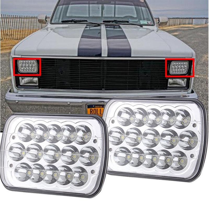2PCS 6x7 inch Rectangular LED Headlights for Jeep Wrangler YJ Cherokee XJ Toyota PickupTrucks 4X4 Offroad Headlamp 5 x 7 6x7inch rectangular led headlights for jeep wrangler yj cherokee xj trucks 4x4 offroad headlamp replacement h6054 h5054