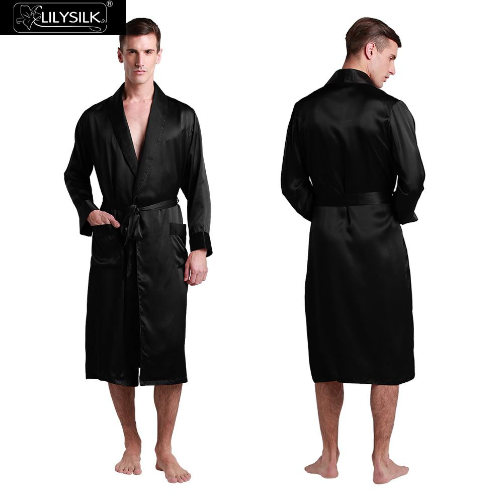 Lilysilk Bathrobe Chinese Silk Robe For Men 22 momme Dressing Gown Long Kimono Male Sexy Black