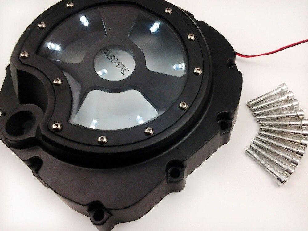 Мотоцикл частей Белый светодиод видеть сквозь Двигатель Крышка сцепления для Kawasaki ZX14R ZZR1400 06-13 черный