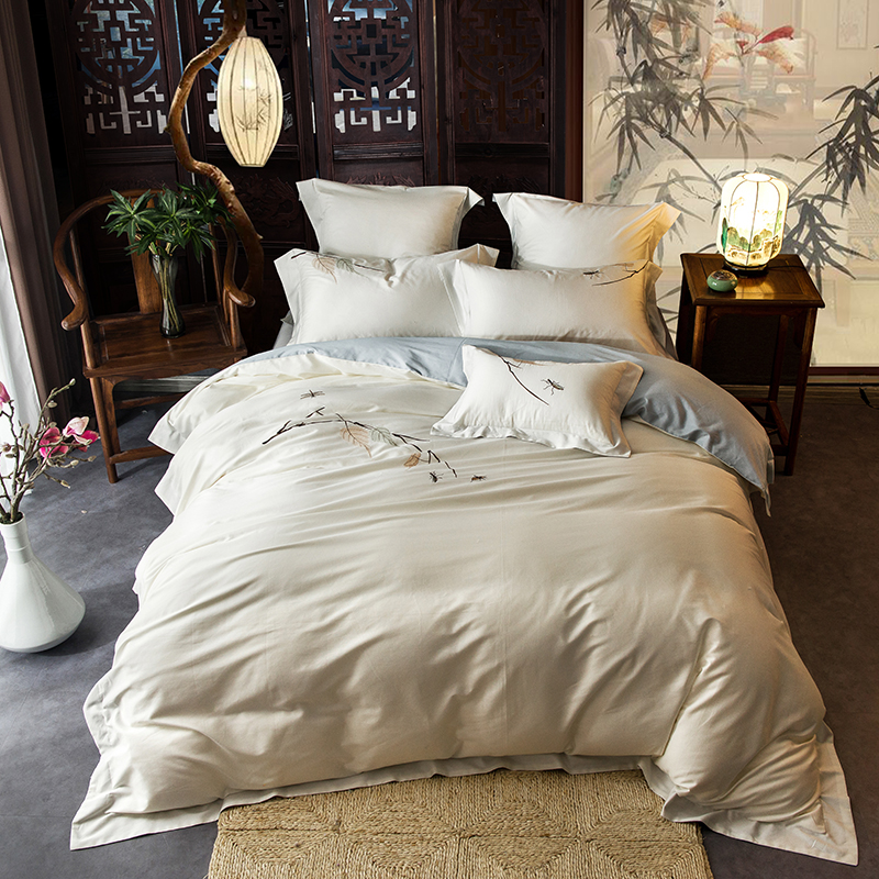 Simple style leaves Embroidery Bedclothes Egyptian Cotton Bedding Set Queen king Size Quilt Cover Pillowcase flat BedsheetSimple style leaves Embroidery Bedclothes Egyptian Cotton Bedding Set Queen king Size Quilt Cover Pillowcase flat Bedsheet