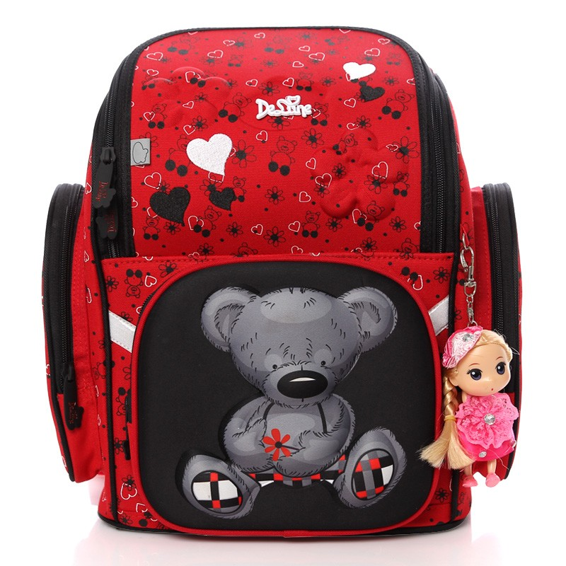2018 бренд delune Новая девушка Школьные ранцы 3D милый медведь цветок Водонепроницаемый ортопедический рюкзак школьный начальной Mochila Infantil