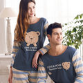 Free Shipping  100% Cotton  Full  Sleeve Cartoon Bennie Bear  Blue colour Lovers Sleepwear Sets 01