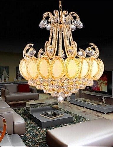 Z Modern Luxury Chandeliers Transparent Golden Metal Crystal Living Room LED Diameter 50CM Contains 8 LED Bulbs Lighting Fixture european pink flowers crystal chandeliers lighting fixture e14 modern metal restaurant bedroom living room hanging lamp pl620