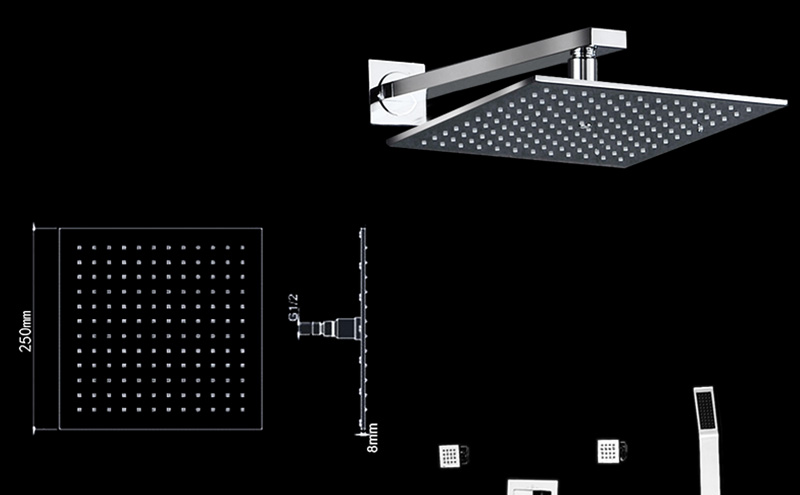 Thermostatic Bath Room Shower Faucets Shower Head 6 Massage Jets Spa Body Spray Shower Set (27)