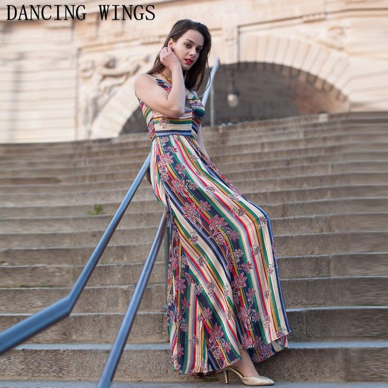Été sans manches en mousseline de soie imprimé Boho longue robe femme Vintage rayé v-cou Spaghetti sangle casual robe Vestidos